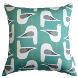 Seagull Design Cushion: Sea Green