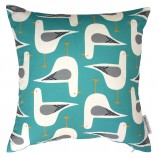 Seagull Design Cushion: Turquoise